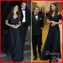 Custom-made Navy Blue Formal Dress Short Sleeve Chiffon Princess Kate Middleton Dress