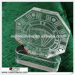 Tournament Winner Etched Crystal Octagon Poker Trophy