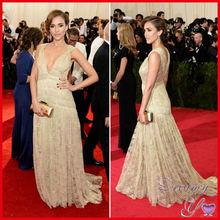 Jessica Alba Fashion V-neck Floor Length Celebrity Red Carpet Dress Lace