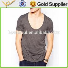 OEM Custom European Style Thin Soft Men Deep Round Neck T-shirt