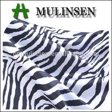 Mulinsen Textile Woven Polyester Twisting Stretch Printed Zebra Satin Fabric