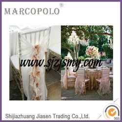 fancy ruffle chair sash/wedding chair cover and chiffon sash