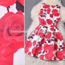 Latest Style A Line Dress O Neck Sleeveless Flower Print Summer Women Pink Dress 2014