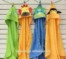 100% cotton Animal shape baby hooded bathrobe/ baby blankets