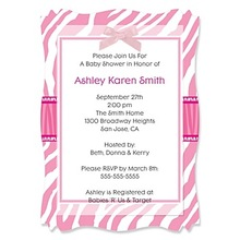 Pink Baby Zebra - Personalized Baby Shower Vellum Overlay Invitations - See more at: http://www.bigdotofhappiness.com/baby-showe