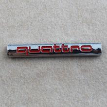Auto Chrome Red Silver QUATTRO emblem