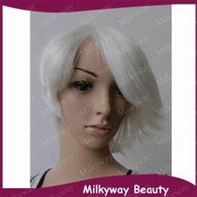 Hot 1001# pure white color heat resistant fiber short synthetic lace front Wig