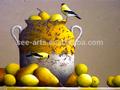 คลาสสิกที่ทำด้วยมือยังคงมีชีวิตภาพวาดนกและผลไม้