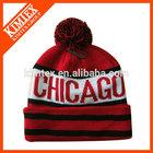 Knitted pom custom slouchy acrylic jacquard beanie hat