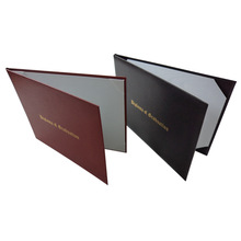 OEM certificate holder leather diploma cover award folio with gold foil stamping