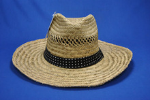 2014 natural fitted straw caps with dot band