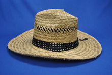 2014 natural fitted straw hats with dot band