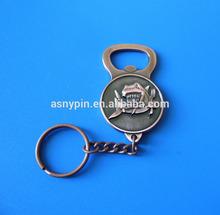 3D shark design copper beer bottle opener with key chain, metal opener keyrings
