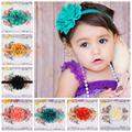 moda f10 de bebé niña accesorios para el cabello ondulado hueco fuera de flor de gasa cinta para niños