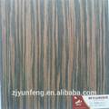 Reconstituído decorativa de madeira projetado verniz Macassar Ebony 7001 S com velo de volta