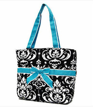 NEW Cotton Shopping Tote Bag Flower Accent Dual Strap Handbag Purse Blue