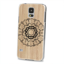 3D embossing Wood pattern back design for samsung S5/S5 mini transparent side case cover