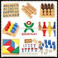 Los niños de madera juego de puzzle/bloques de cilindros/de educación familiar para niños/qx-4807