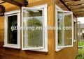 Guangzhou ventanilla única pannel PVC abatible / Vidrio doble ventanas abatibles de PVC / ventanas y puertas de pvc perfil