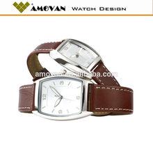 AMU012 leisure quartz watch with leather strap, couple lover wrist watch