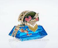 flower birds crystal blue perfume bottle for wedding gifts