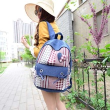 BV6105 hefei zhijing new design casual denim canvas shoulder bag men and women traveling bags
