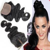 6A!! 14 inch Hot Sale Comfortable Body Wave 4*4 size brazilian hair Silk Base Closure