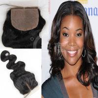 2014 Hot selling 14 inch Brazilian virgin hair Silk base closure 4 *4 sizeon line