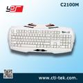 3 multi- color sistema de iluminación led retroiluminada con conexión de cable usb multimedia profesional de juegos de teclado para el ordenador portátil pc( todo blanco)