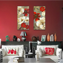Framed Abstract Flower Oil Painting on Canvas