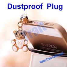 bulk price cute diamond bear 3.5mm dust plug for samsung galaxy s4