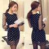 2014 Elegant sexy Women's Dot Mesh Splicing Dress Mini Club Party Black Dress designer plus size SV003698