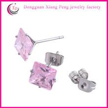 Stylish Purple Diamond Stud Earrings cubic zirconia stud earrings screw back