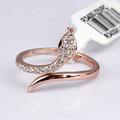 18k rose ouro chapeado moda jóias cristal cobra em forma de anel para as mulheres r3400