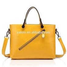 bcr6019 designer fashion leather tote bag yellow zipper hand bag women