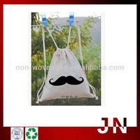 Promotional low price black cotton drawstring bag