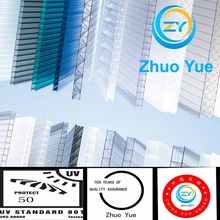 Zhuoyue UV multifunctional transparent pc hollow sheet