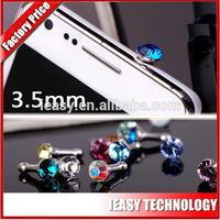 diamond dust plug for iphone 5 ear cap 3.5mm jack plug to usb cable