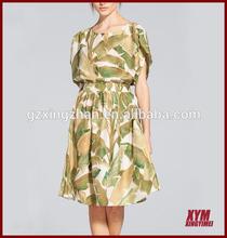 New brand dresses chiffon dresses digital printing short sleeves high quality