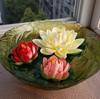 2014 SJ AF116 Wholesale floating flowers for pools decor plastic water lily artificial foam lotus bonsai fake lotus flower