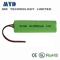 4.8V 2000mAh nimh battery pack 4.8volt nimh battery pack nimh rechargeable