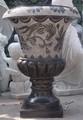 villa de la decoración del jardín de piedra tallada amarillo antiguo jarrón chino