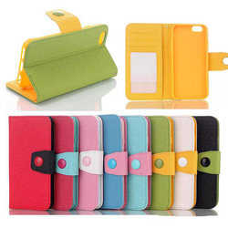 New Arrival Dual Color With Button Flip PU Leather Wallet Case Pouch For iPhone 6 6g