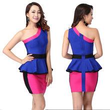fashion mature color block one shoulder bandage women dresses party