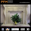 2014 hot sale natural wholesale hand carved egyptian beige marble grey fireplace mantel sculpture