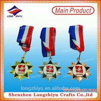 Metal gold silver bronze globe award with ribbon star medal