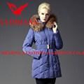 最新の熱い販売のリアルファー2014年高品質の光沢のあるファッション暖かいロングコートの女性の冬のジャケット