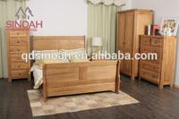 Solid oak modern style king bed/ 6' sleigh bed/bedroom furniture