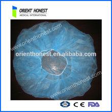 Blue disposable PP nonwoven bouffant cap for hospital