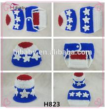 H823 yenidoğan şapka + bezi iki takım güzel el yapımı tığ giyim